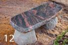 Sarkanbrūns granīta kapu soliņš ar akmens kājām